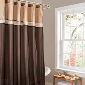 Lush Decor Terra Color Block Shower Curtain Fabric Striped Neutral Bathroom Decor, 72 by 72-Inch Brown/Beige