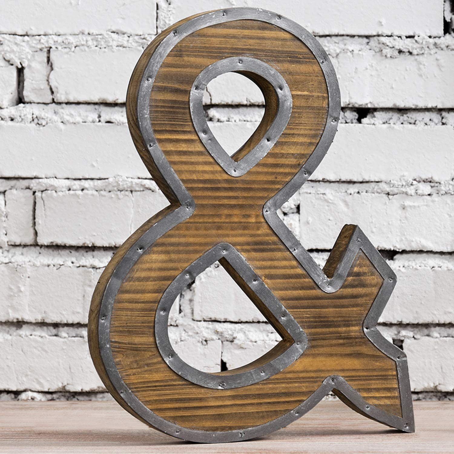 MyGift 13 x 9 Inch Industrial Style Burnt Brown Wood and Galvanized Metal Ampersand & Tabletop Freestanding Monogram Letter Decoration