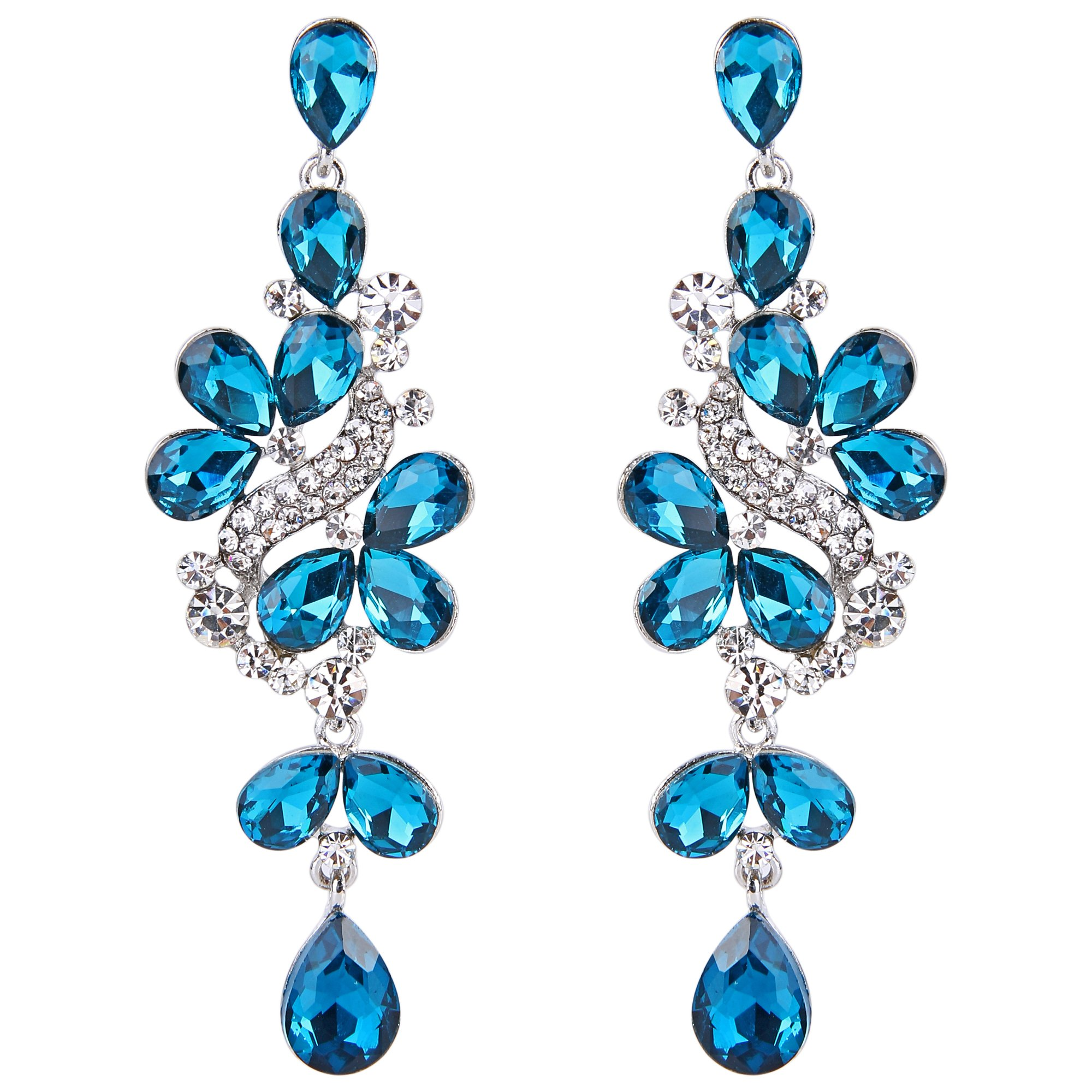 BriLove Women's Victorian Style Crystal Dangle Earrings Wedding Bridal with Cluster Teardrop Leaves Blue Topaz Color Silver-Tone