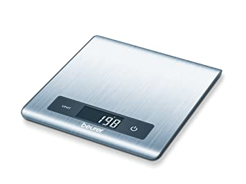 Beurer KS 51 - Balanza de cocina ultra plana (1,5 cm), 5 kg/1 gr, pesa líquidos, color plata: Amazon.es: Hogar
