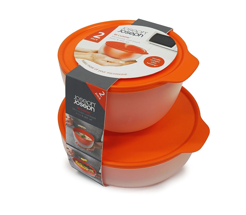 Joseph Joseph, M Cuisine, set da cucina, ciotola e piatto Cool Touch per microonde, colore: arancione, confezione da 2 10447