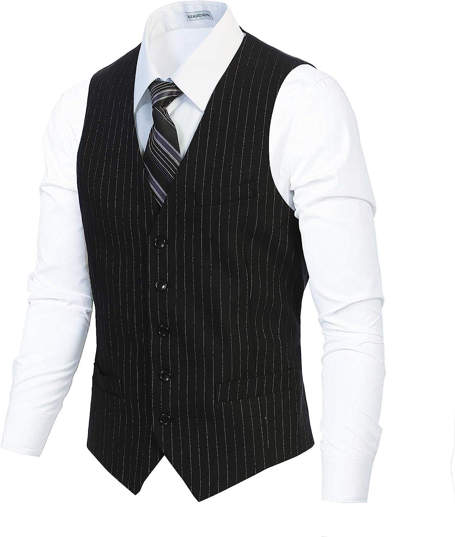Gioberti Men's 5 Button Formal Wool Blend Tweed Pin Stripe Vest