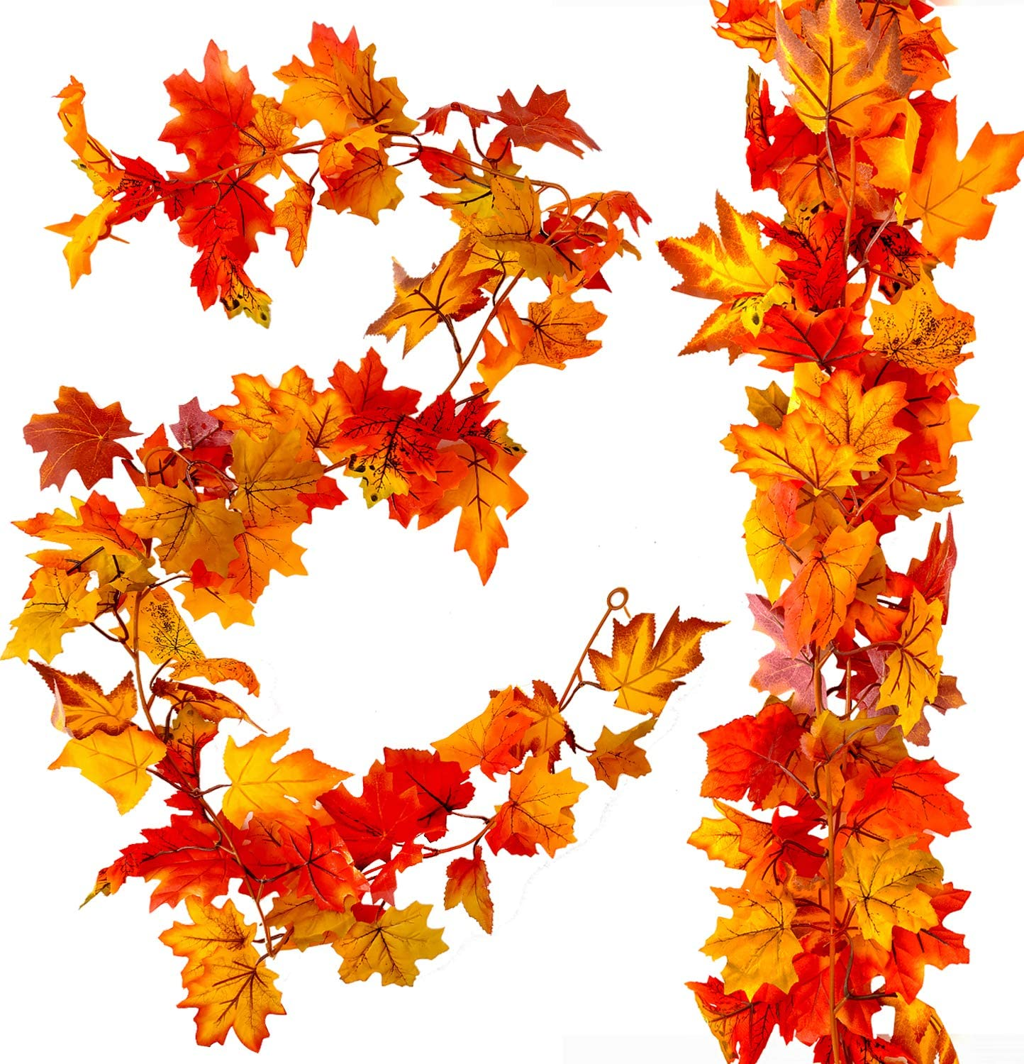 MoonLa 2 Pcs Artificial Autumn Fall Maple Leaves Garland 5.9ft Fall Hanging Vines Plant Thanksgiving Decor for Indoor Outdoor Wedding Party Home Fireplace Halloween Christmas Decorations