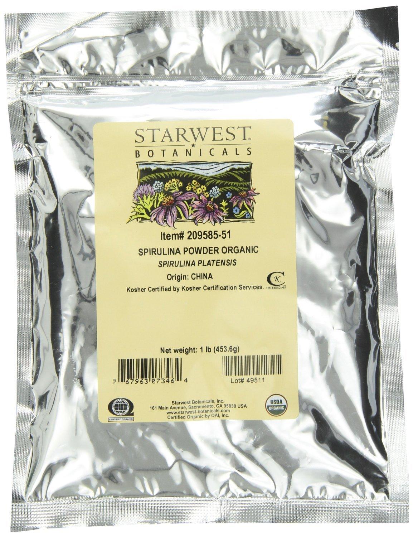 Starwest Botanicals Certified Organic Spirulina Powder, 1 Pound Bulk Bag (Pack of 2) - Fresh, Natural, Raw Spirulina Platensis - Best Quality! 100% Pure, Vegan, and Gluten-free