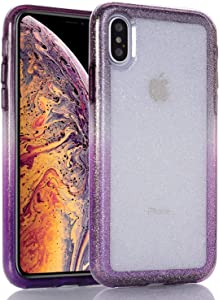 BAISRKE Clear Glitter iPhone X XS Case, Hybrid Heavy Duty Protection Case Hard Plastic & Soft TPU Sturdy Shockproof Armor High Impact Resistant Cover for iPhone X/Xs [Purple]
