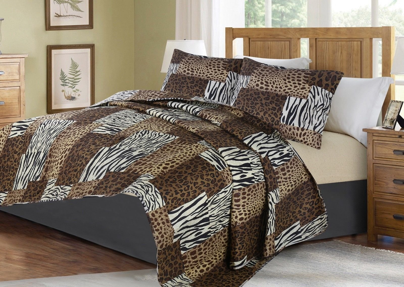 no!no! Printed Animal Designs Bedspread Coverlet Quilt Set with Pillow Shams Animal 5# Size Queen