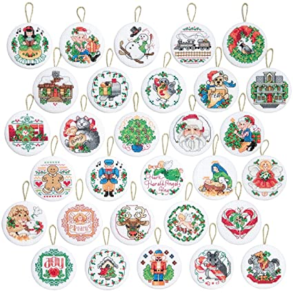 janlynn 14 count counted cross stitch kit with 2 inch round lotsa christmas ornaments - Amazon Christmas Ornaments