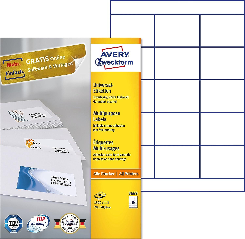 AVERY Zweckform 3669 Universal-Etiketten (A4, Papier matt, 1,500 Etiketten, 70 x 50,8 mm, 100 Blatt) weiß B000122AN2 | Gemäßigten Kosten