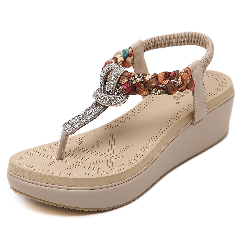 Damen Zehentrenner Sandalen Bohemia Keilabsatz Strass Frauen Sommer Schuhe  40 EU|Beige