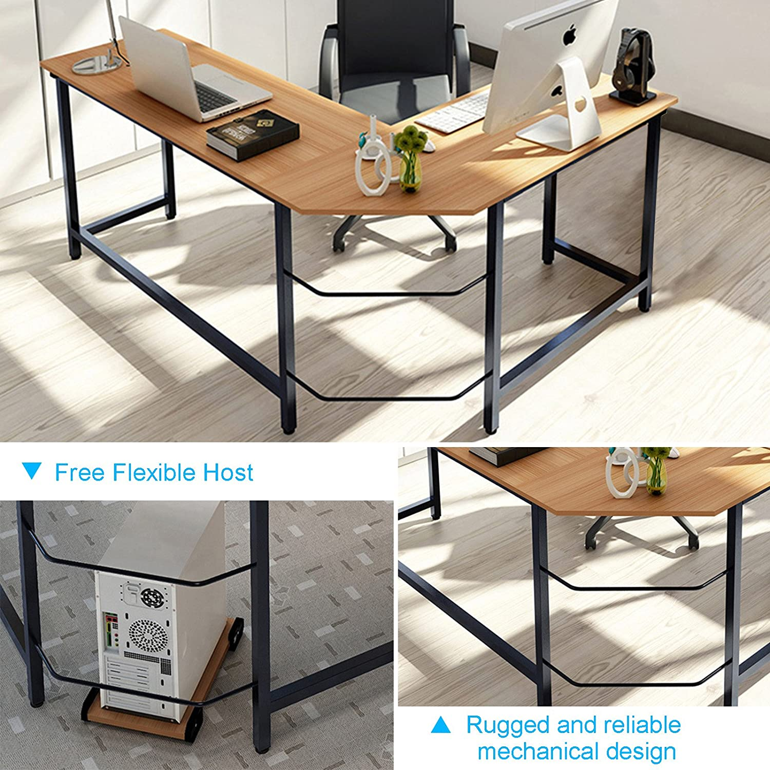 Amazon Tribesigns Modern L Shaped Desk Corner puter Desk
