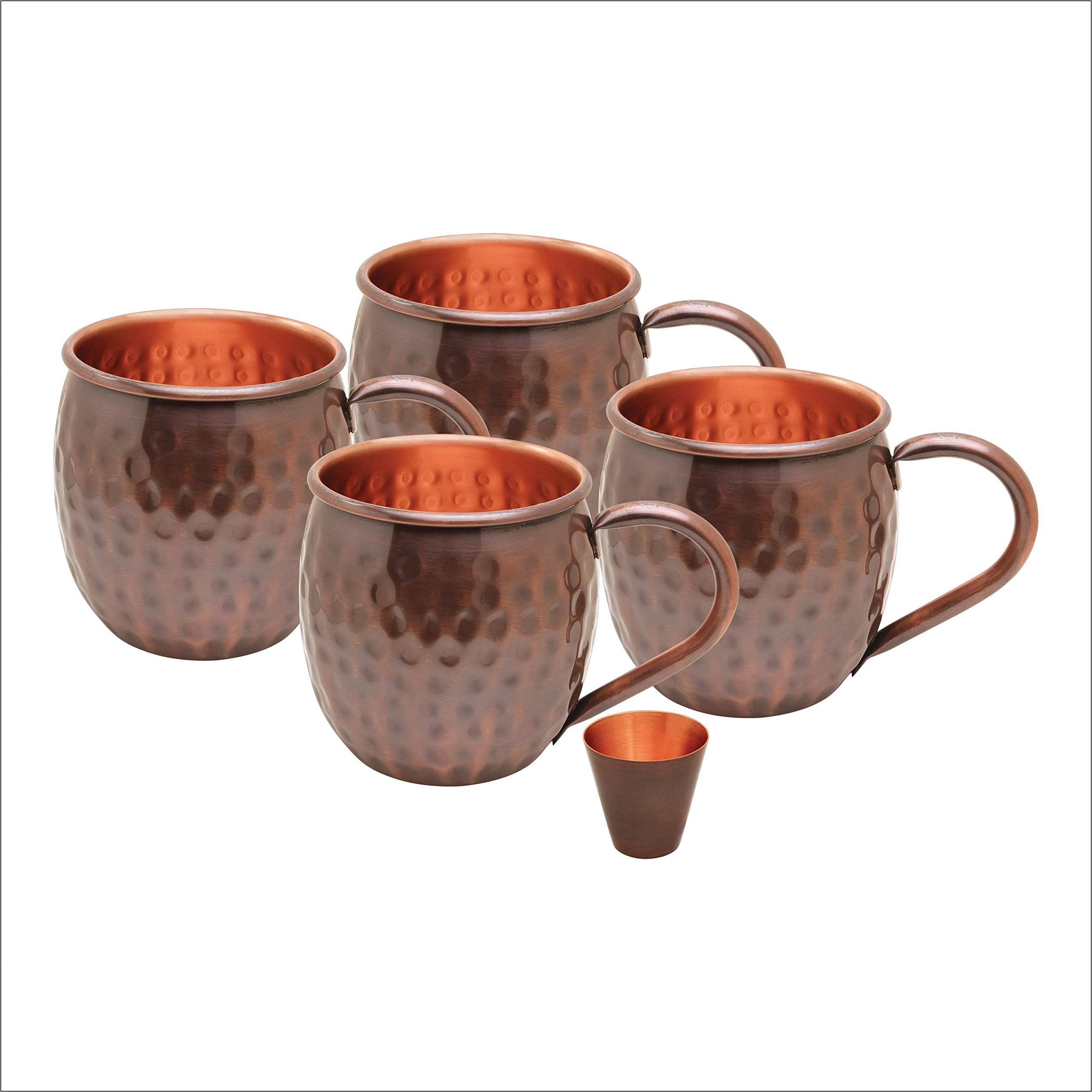 AVADOR Set of 4 Antique Finished Handcrafted 100% Pure Copper Moscow Mule Mugs Hammered Finish 16 Oz. Gift Set Boxed with Shot Glass