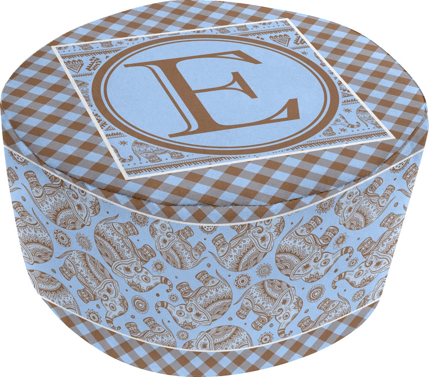 Gingham & Elephants Round Pouf Ottoman (Personalized) by RNK Shops (Image #2)
