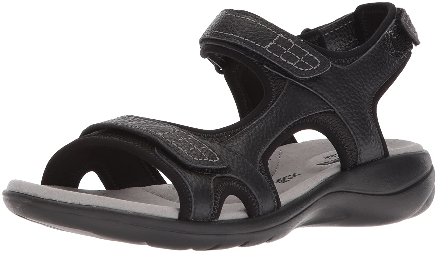 CLARKS Women's Saylie Jade Sandal B074CHHPX6 7 W US|Black Tumbled Leather