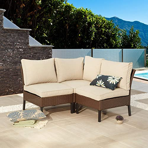 Festival Depot 3 Pieces Patio Conversation Set Sectional Corner Sofa Combination Outdoor All-Weather Wicker Metal Armless Chairs