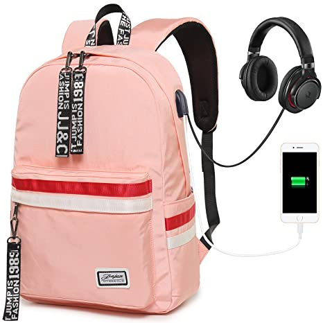 5de11b232be Amazon.com  Girls Backpack Teens School Bookbag Laptop Backpack Cute School  Bag with USB Charging Port for Women(Pink)  Computers   Accessories