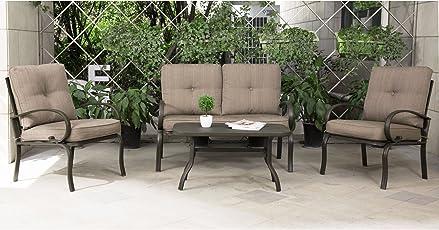 Cloud Mountain 4 Piece Patio Furniture Set Outdoor Conversation Set  Cushioned Sofa Set Garden Love Seat
