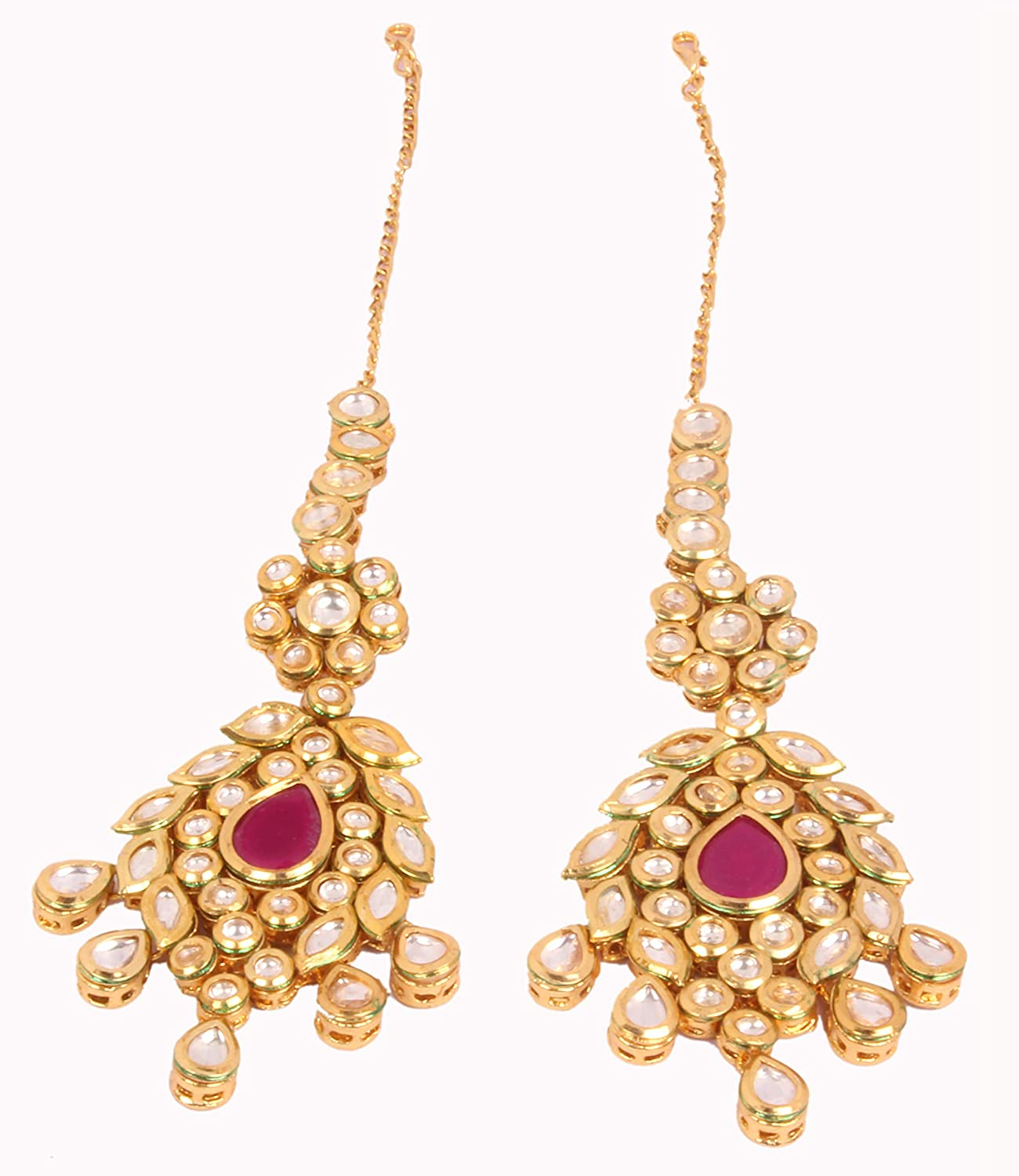 Amazing Indian Style Golden Plated Ruby Stone Polki Necklace Earrings Bridal Set Traditional Jewelry
