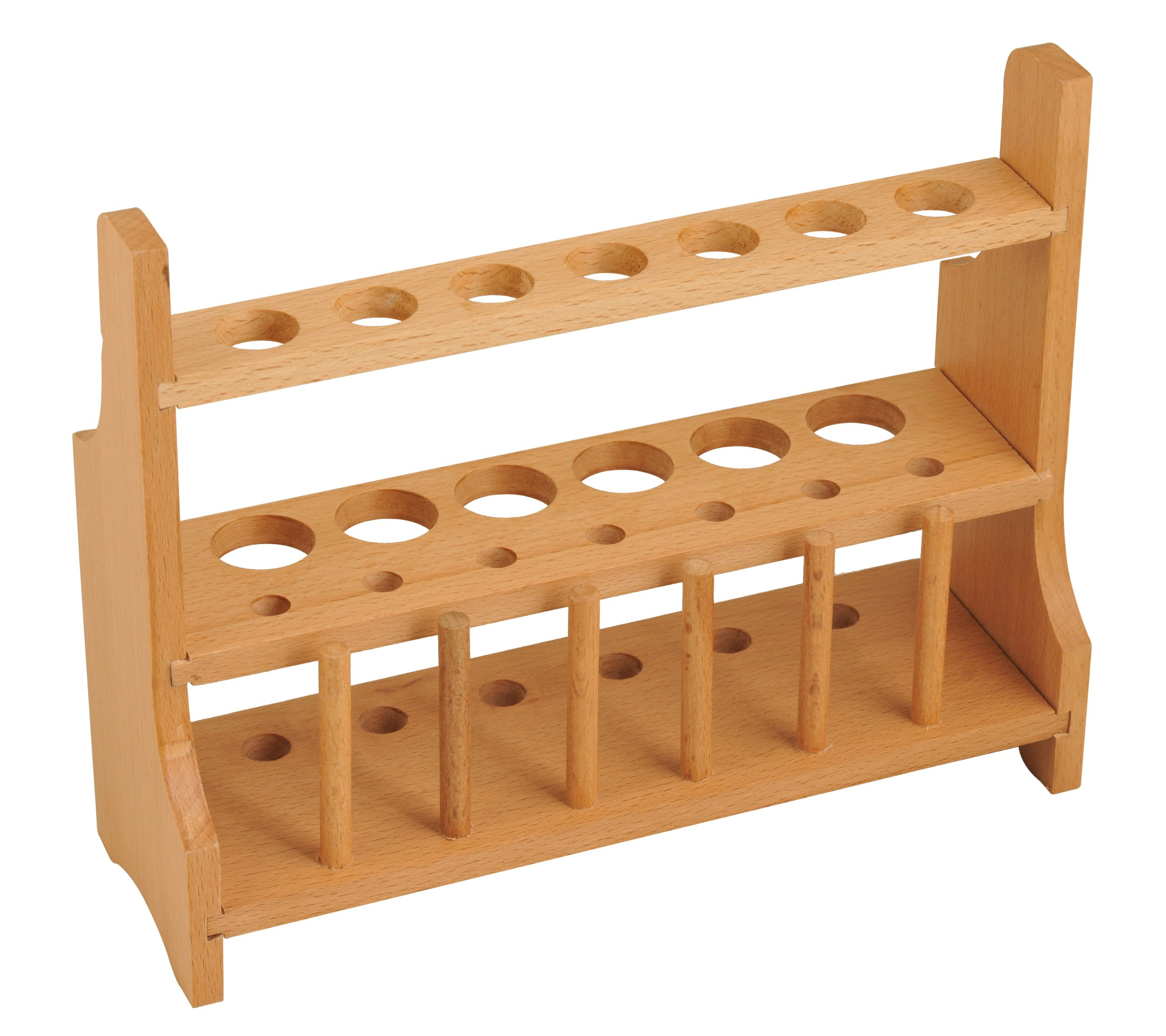 Eisco CH0003C Wood Test Tube Rack, 13 Hole, 6 Pin - 2 Shelves, 20-25mm