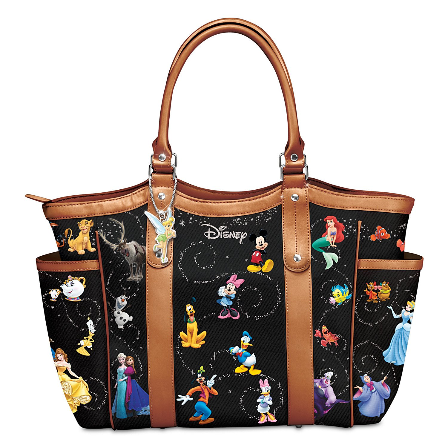 Disney Handbag With Character Art And Tinker Bell Charm by The Bradford Exchange
