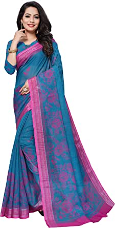 INFINITY FASHION Women`s Wear Saree Made from Linen Cotton with Print Casual Wear