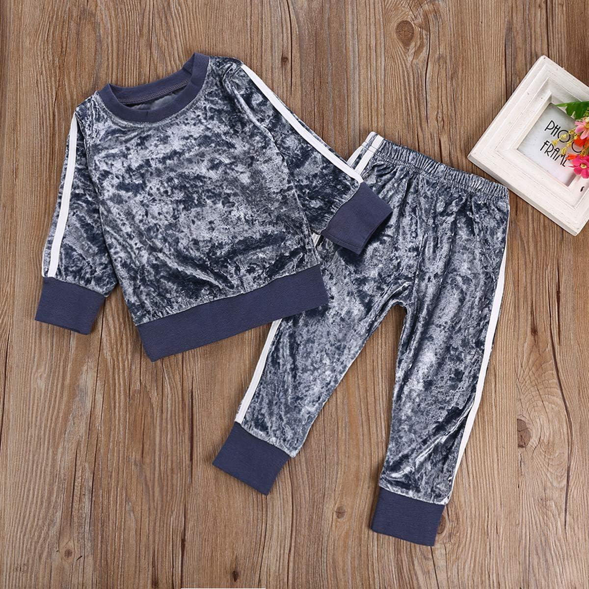 pantaloni superiori DaMohony Set di 2 vestiti alla moda per bambine leggings per neonati e bambini colore: rosa a maniche lunghe