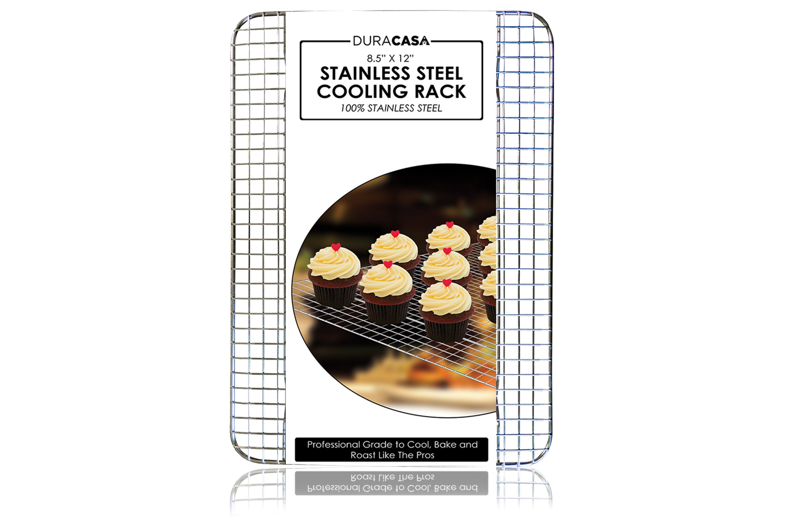 Baking Rack - Cooling Rack - Stainless Steel 304 Grade Roasting Rack - 8.5'' X 12'' - Heavy Duty Oven Safe, Commercial Quality Cooling Racks For Baking - Metal Wire Grid Rack Design