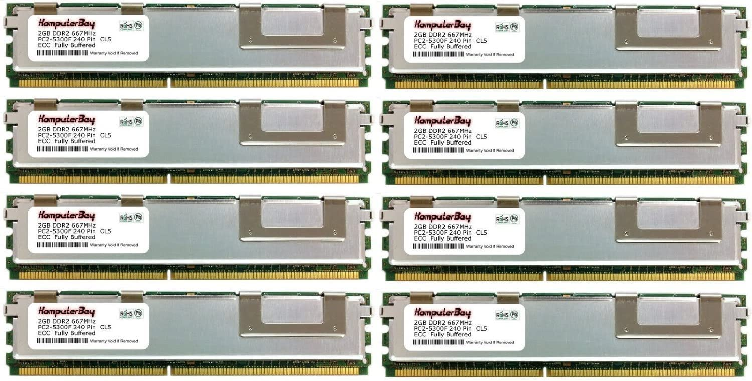 Certified Memory for Compaq HP ProLiant BL460c Server Blade DDR2 667MHz PC2-5300 Fully Buffered KOMPUTERBAY 16GB 8X2GB