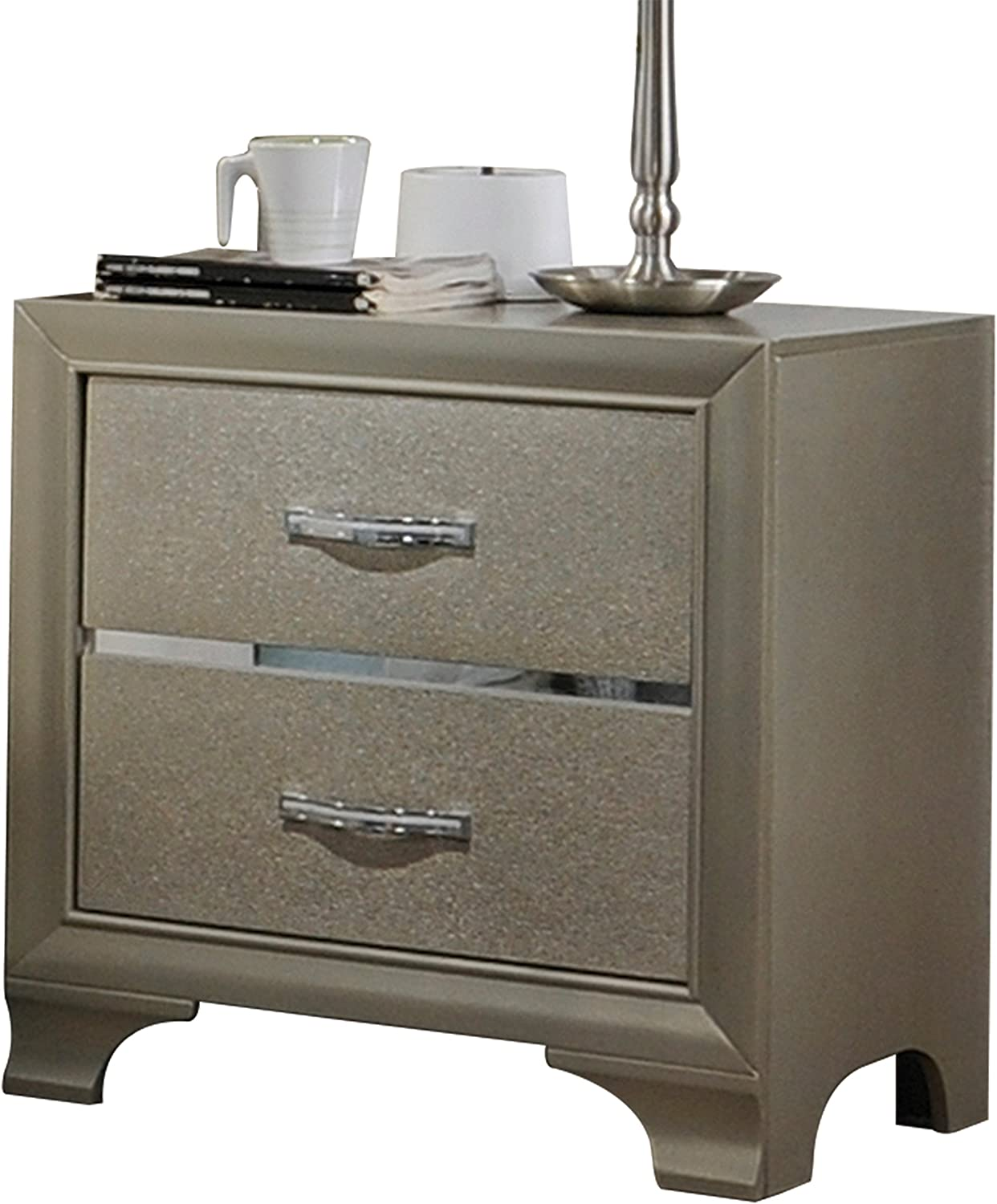 ACME Furniture 26243 Carine Nightstand, Champagne