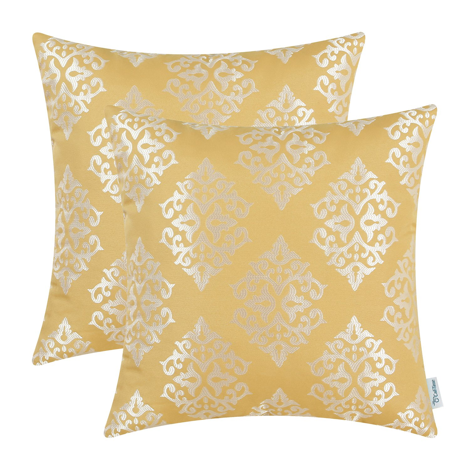 CaliTime Pack of 2 Soft Jacquard Throw Pillow Covers Cases Couch Sofa Home Decoration Vintage Damask Floral 18 X 18 inches Gold