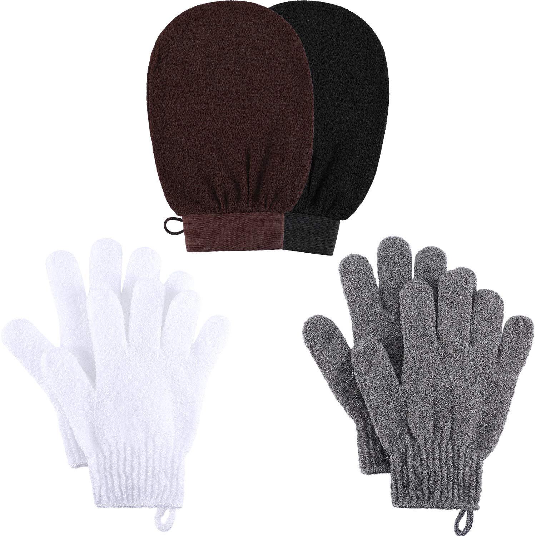 Blulu 2 Pairs Double Sided Exfoliating Gloves Body Scrubbing Glove Bath Scrubs with 2 Pieces Exfoliating Mitten Dead Skin Scrubs