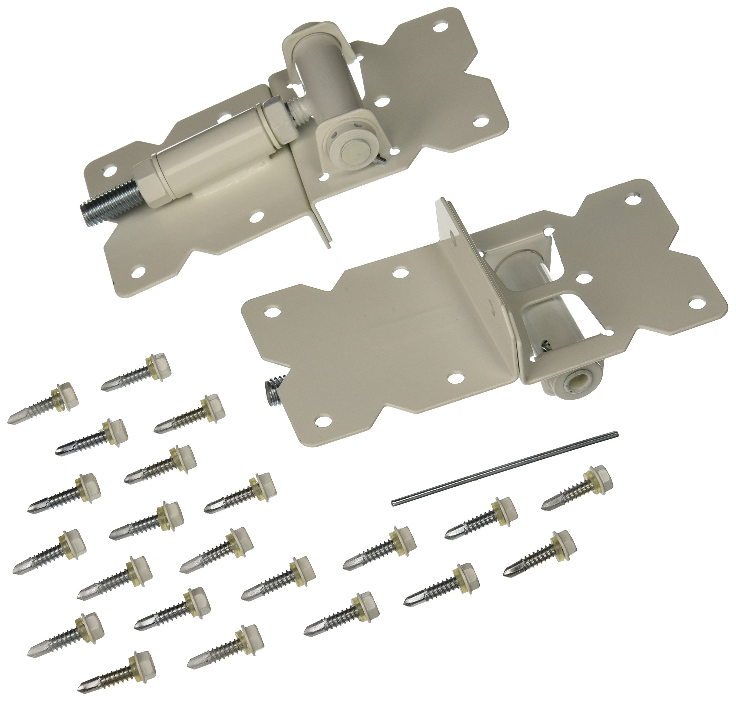 Self Closing Gate Hinge 2-Pack (White Finish)   The Best Set of Vinyl Fence Gate Hinges   Adjustable to Stop Gate Dragging   Heavy Duty White Gate Hinges For Vinyl Fences   In Business 20 Years! (White)