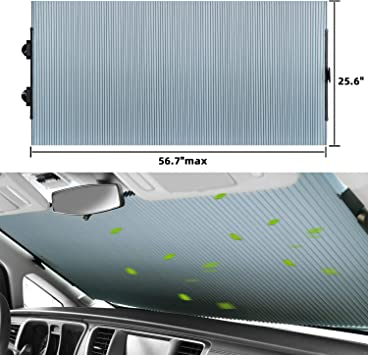 HOMEYA Car Windshield Sun Shade Retractable Sun Shade Curtain Cover Folable Auto Sunshade with Suction Cups UV Protection Heat Reflector to Keep Vehicle Cool Fits Various Models
