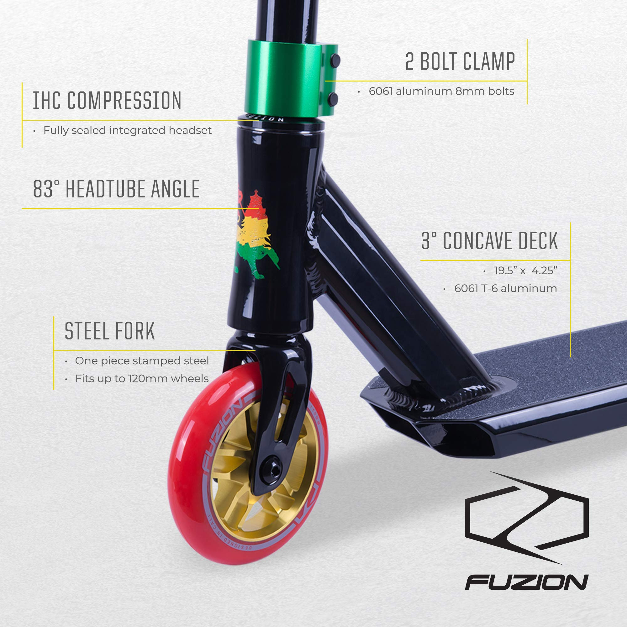 Fuzion Z250 Pro Scooters - Trick Scooter - Intermediate and Beginner Stunt Scooters for Kids 8 Years and Up, Teens and Adults – Durable Freestyle Kick Scooter for Boys and Girls (2019 Rasta) by Fuzion (Image #2)