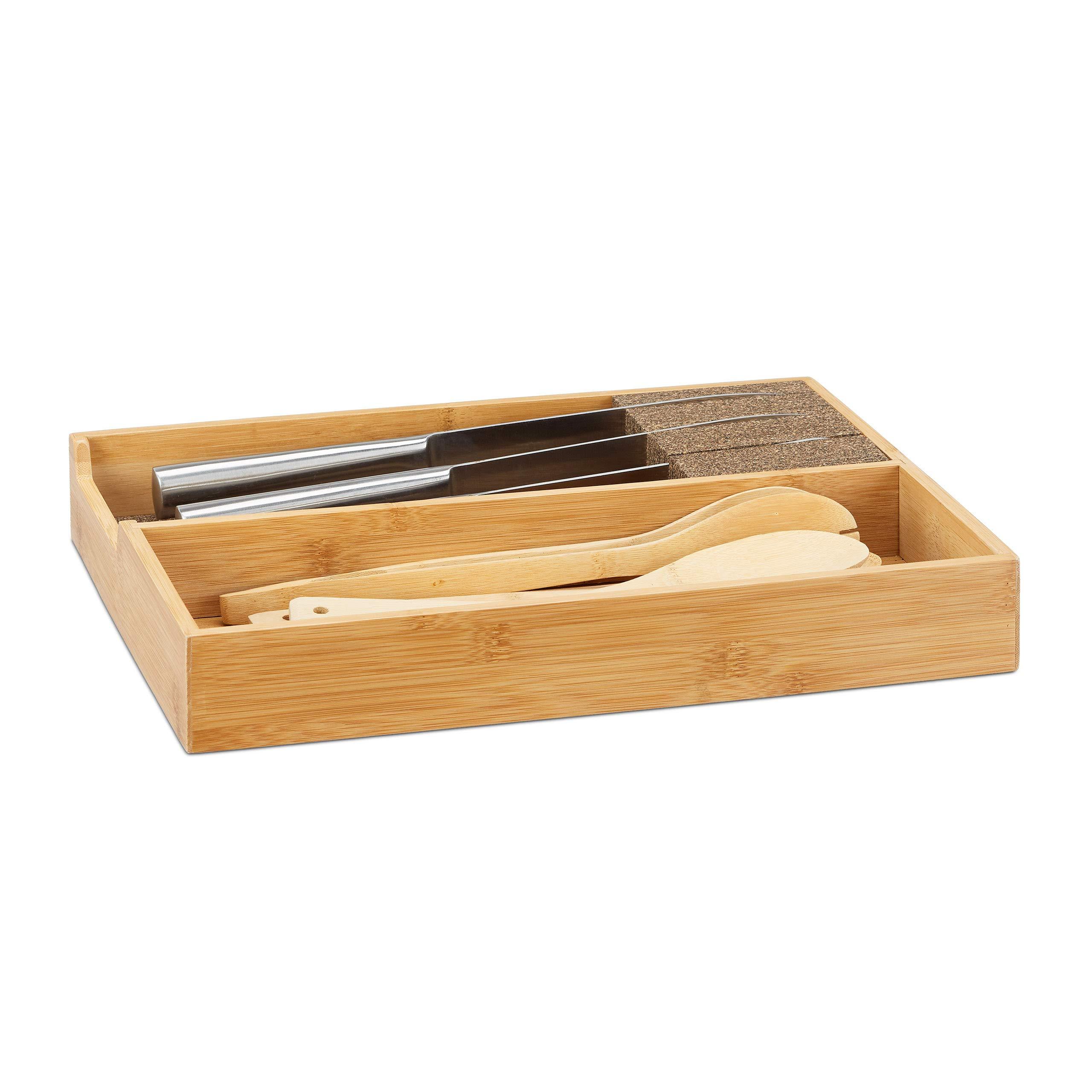 Relaxdays Bamboo Knife Holder, Drawer & Messe Storage Tray Drawer Organizer (H x W: 6,5x38x30cm, Natural