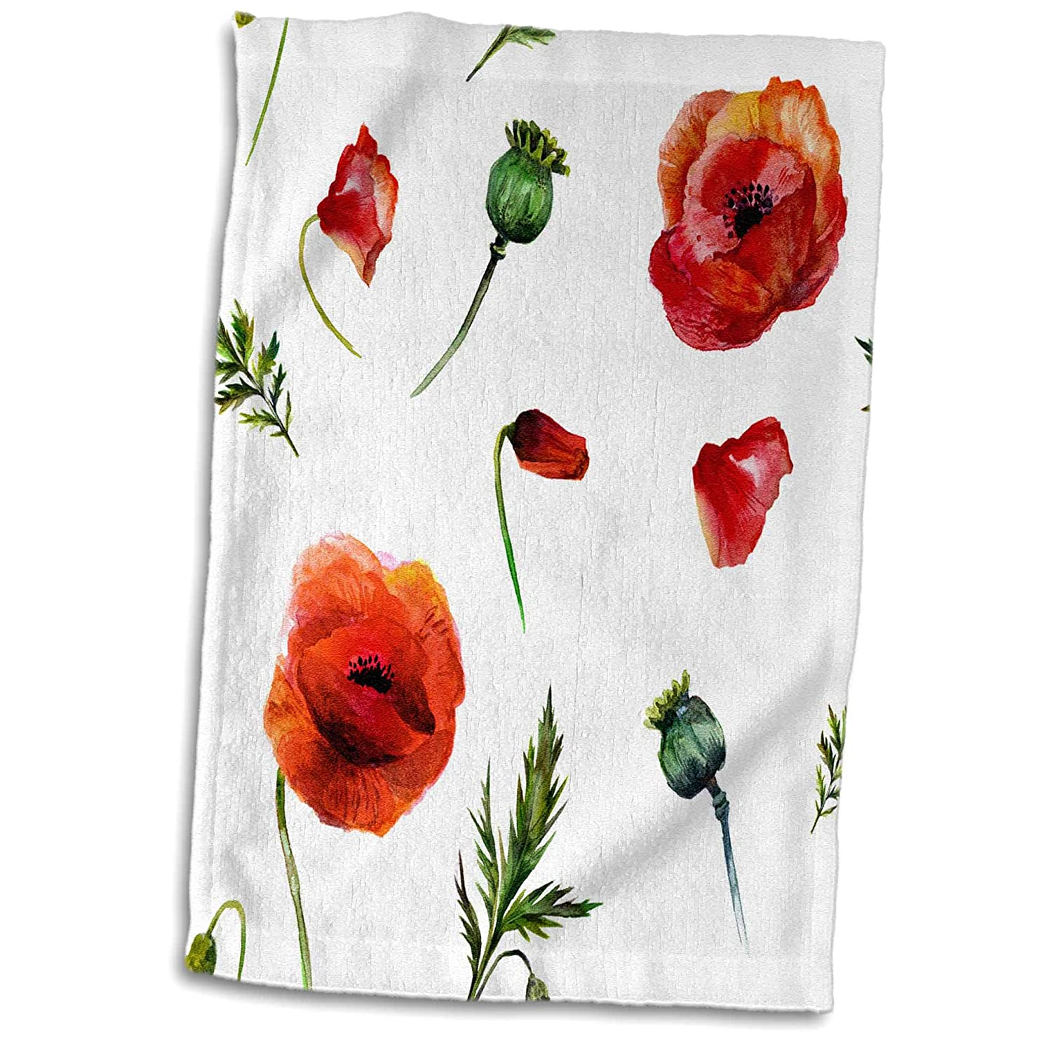 3dRose Anne Marie Baugh - Watercolor - Pretty Watercolor Red Poppy Flowers and Leaves Pattern - 15x22 Hand Towel (TWL_252886_1)