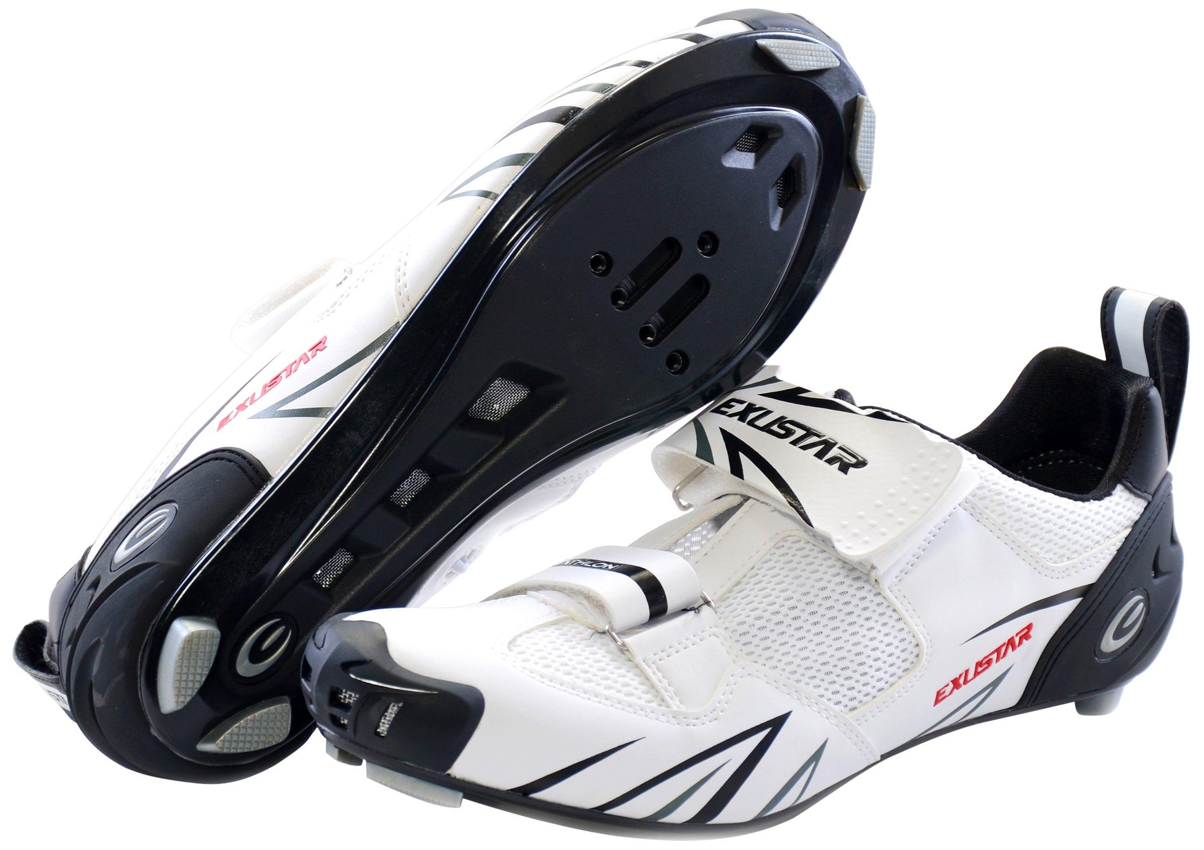 Exustar E-ST951 Triathlon Shoe, White, 39 Euro/6.5 US