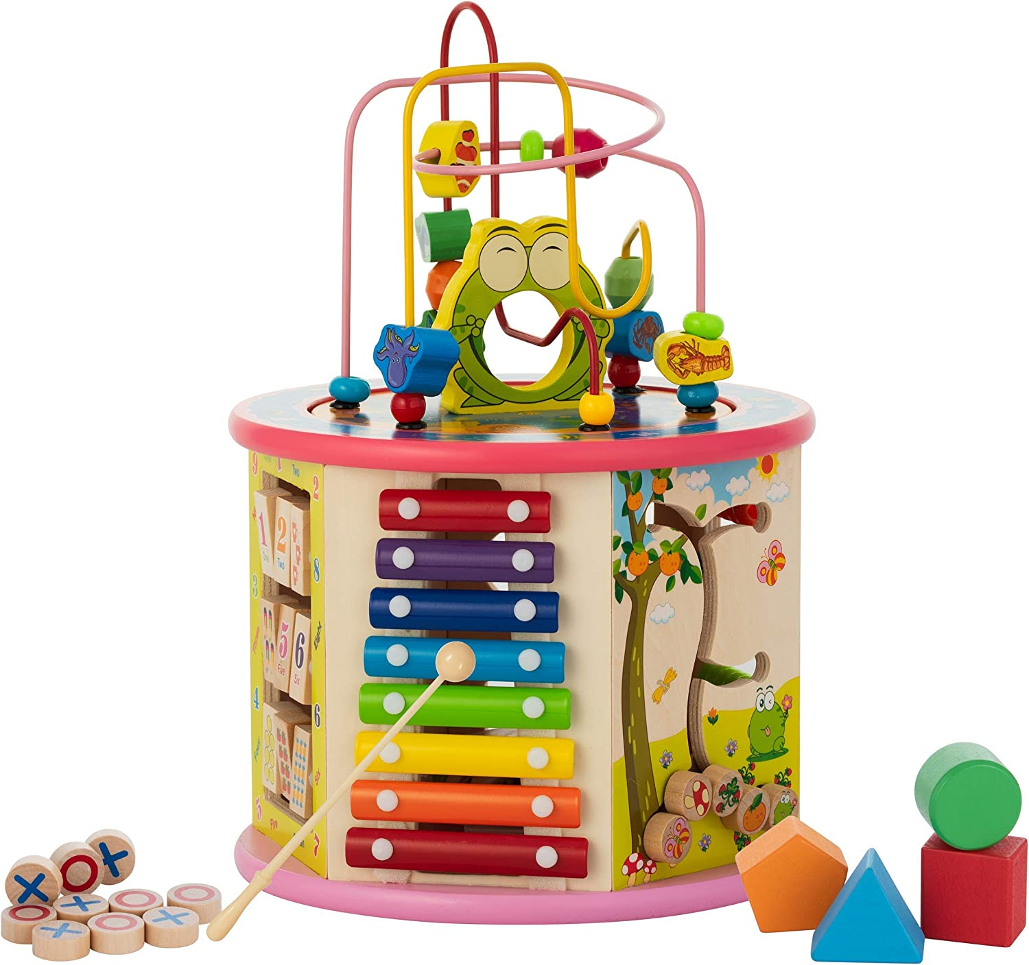 Activity Cube Wooden Center 8-in-1 Educational Toys Best Learning Toys for Boys or Girls {Medium Size}(Pink)