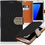 Luxus Strass Handy Tasche Schutz Hülle für Sony Xperia Z / L36H Schwarz Book-Style Leder Etui Glitzer Case Cover Bag
