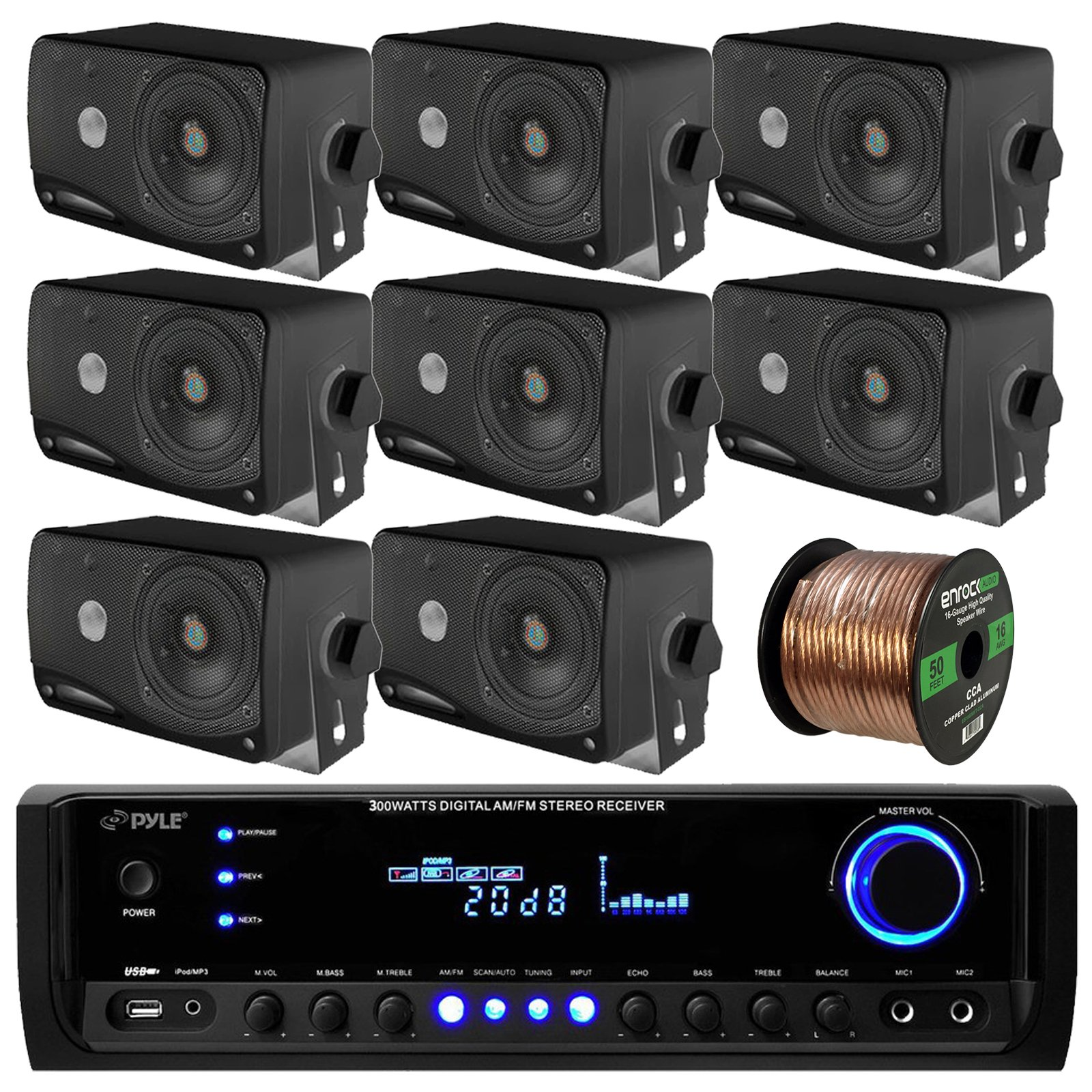 Pyle PT390BTU Bluetooth Digital Home Theater 300-Watt Stereo Receiver Bundle Combo With 8x 3'' Inch 3-Way Wall Mount Black Speakers + Enrock 50 Feet 16g Speaker Wire by EnrockAudioBundle