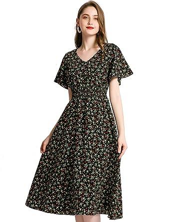 1e5dc75297 Gardenwed Floral Print Chiffon Summer Dresses for Women Flowy Midi Sundress  Bohemian Beach Party Dress Black