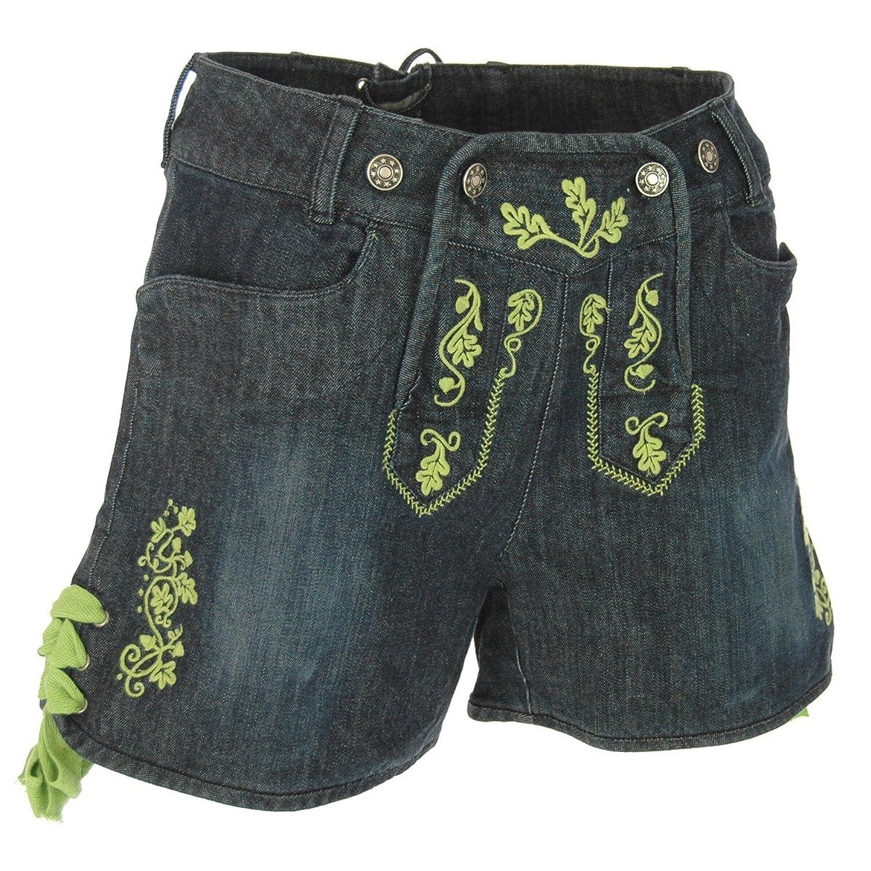 Jeans-Lederhose Stupsi in Blau/Apfelgrün von Almsach