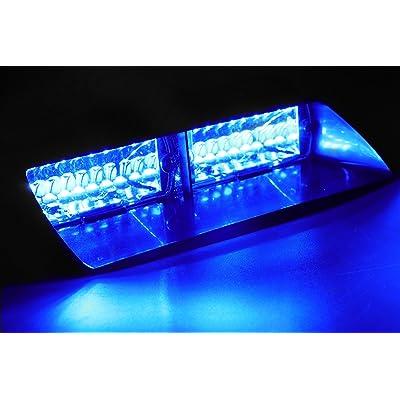 Jackey Awesome Car 16-led 18 Flashing Mode Emergency Vehicle Dash Warning Strobe Flash Light (Blue): Automotive