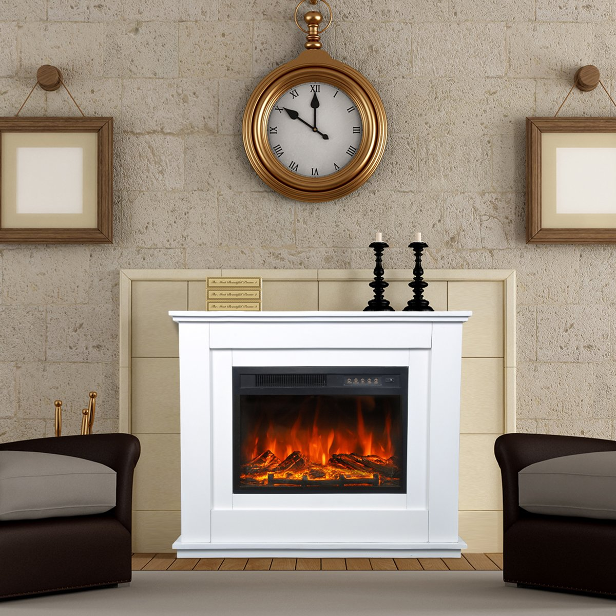 bps electric fireplace suite glass fronted electric fire in white
