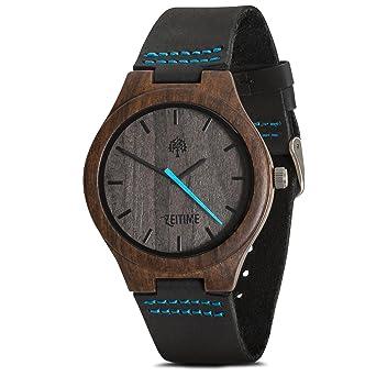zeitime Reloj de madera auténtica madera de ébano | Woody | 100% real de piel Armand | Producto natural | Hombre y Mujer Madera Reloj de pulsera: Amazon.es: ...