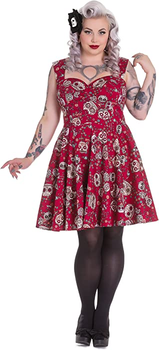 d2eccde47de Hell Bunny Plus Size Gothic Rockabilly Red Sugar Skull Love Idaho Dress (2X)