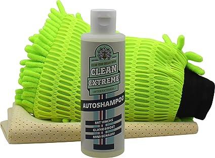 Clean Extreme Auto Juego de ropa - con 200 ml Auto Champú, guante ...