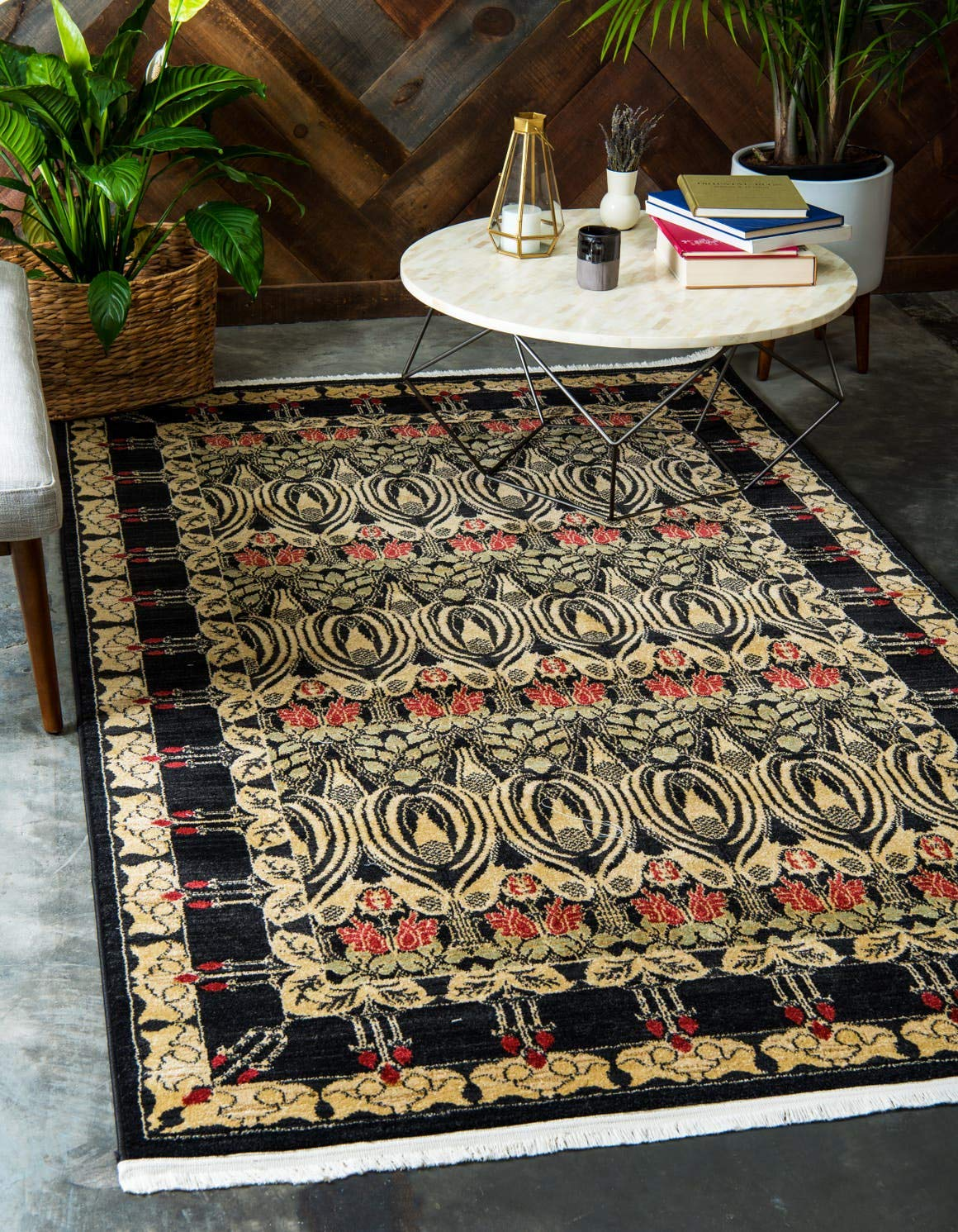 Unique Loom Edinburgh Collection Oriental Traditional French Country Black Area Rug 5 0 x 8 0
