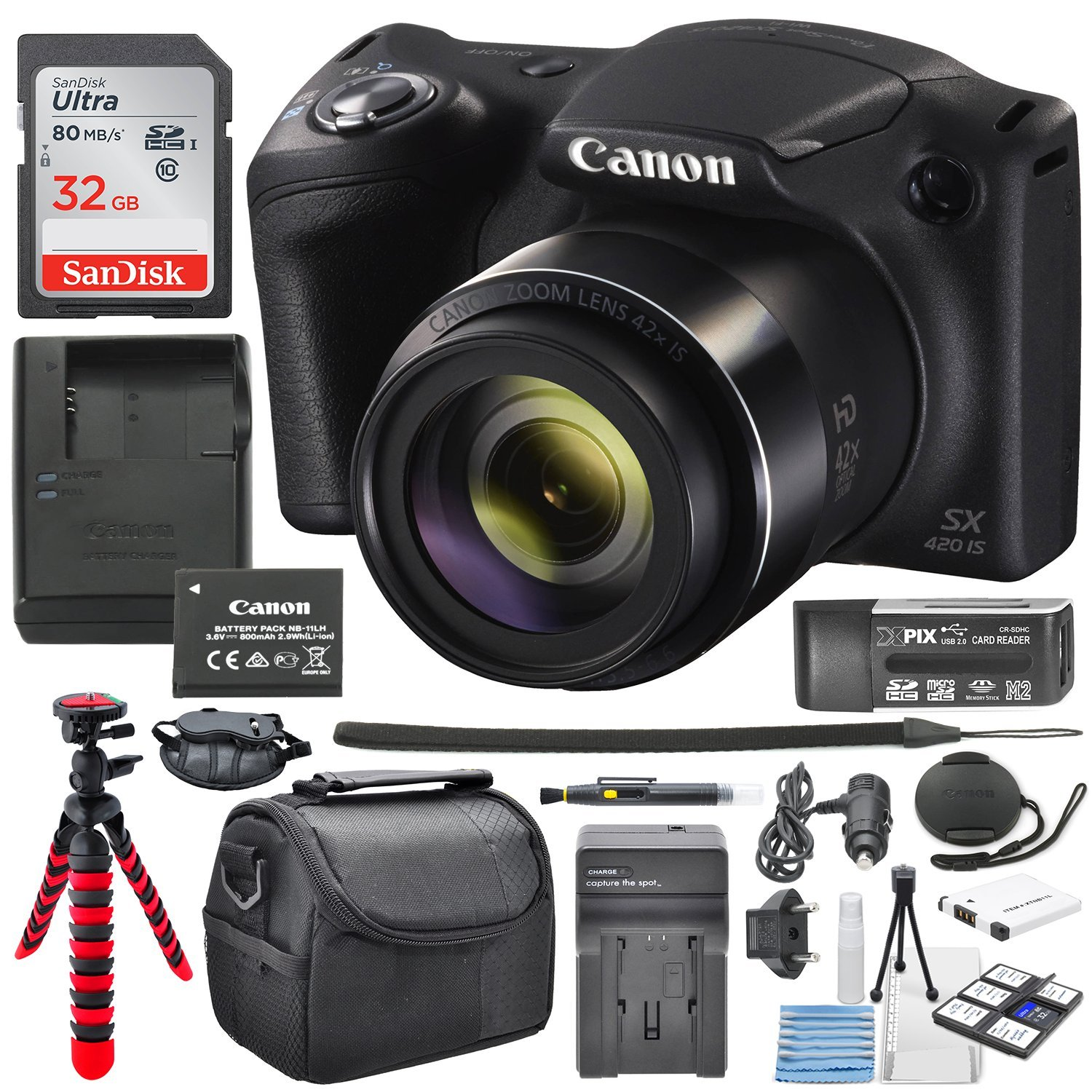 Canon PowerShot SX420 IS (Black) with 42x Optical Zoom and Built-In Wi-Fi Digital Camera & 32GB SDHC + Flexible tripod +AC/DC Turbo travel charger + Extra Battery Along with a Deluxe Bundle