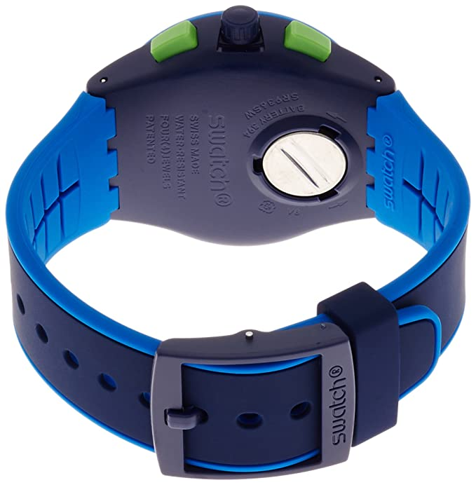 Amazon.com: Swatch Beach Swing Bleu Sur Bleu Blue Dial Silicone Strap Mens Watch SUSN409: Swatch: Watches