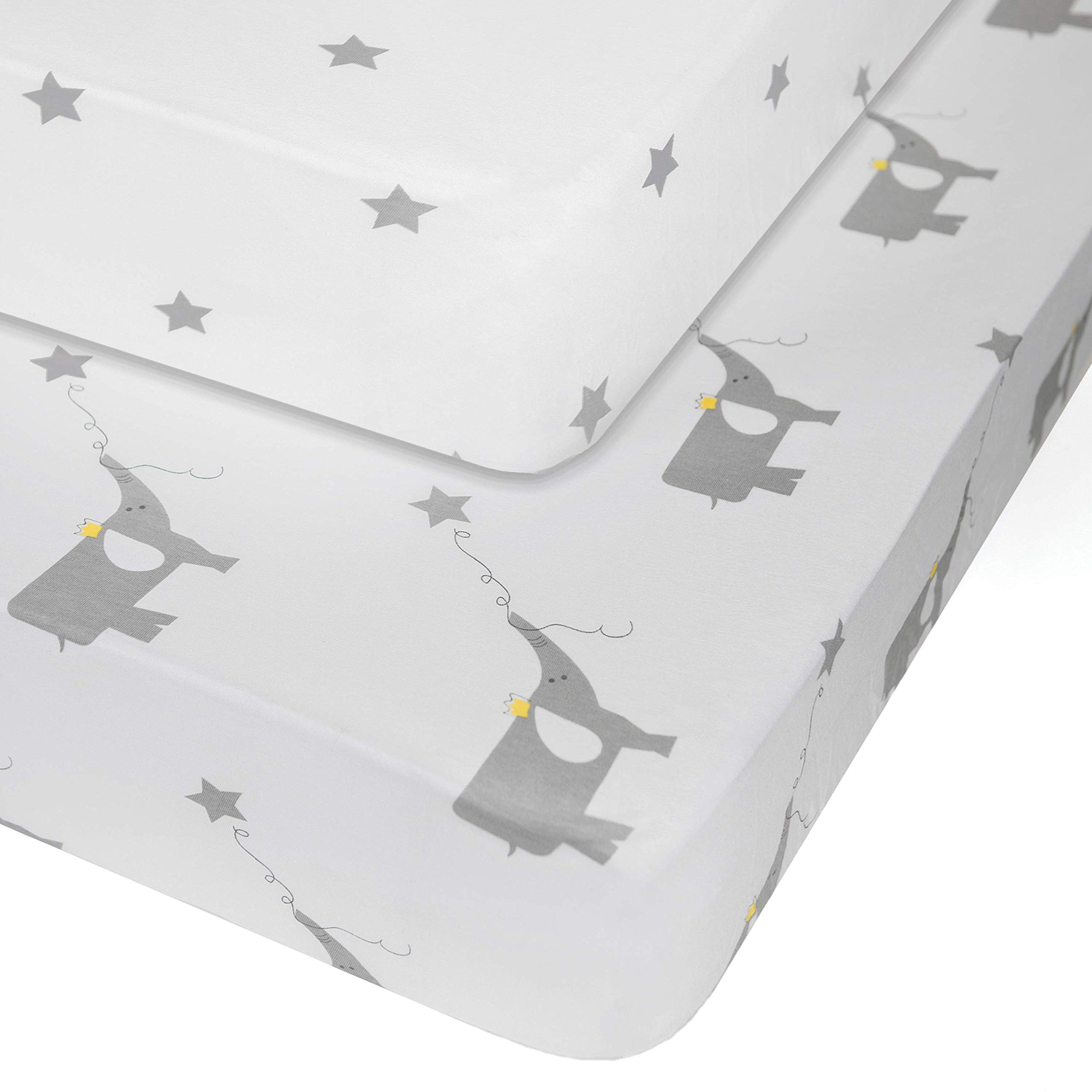 Crib sheets - 100% ORGANIC JERSEY COTTON - 2pk Unisex - Best baby shower gift for boy or girl - by My Little North Star